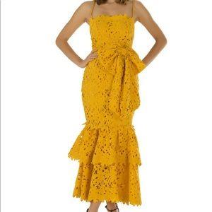 bambah yellow lace double ruffle dress